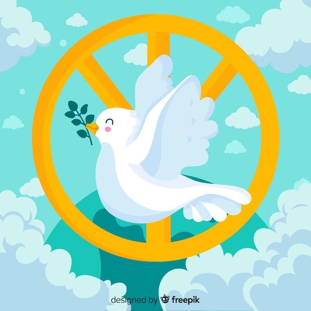 Gelukkige duif met het teken van de vredesdag Gratis Vector
