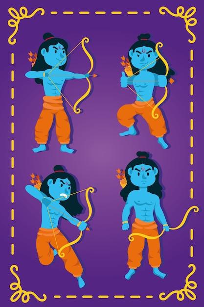 Gelukkige dussehra-viering met de blauwe karakters van lord ramas Premium Vector