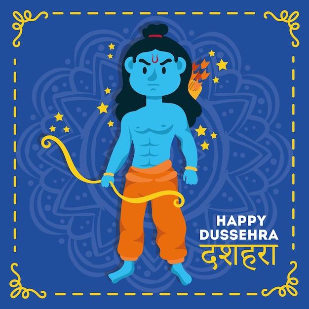 Gelukkige dussehra-viering met het blauwe karakter van lord rama in mandala Premium Vector