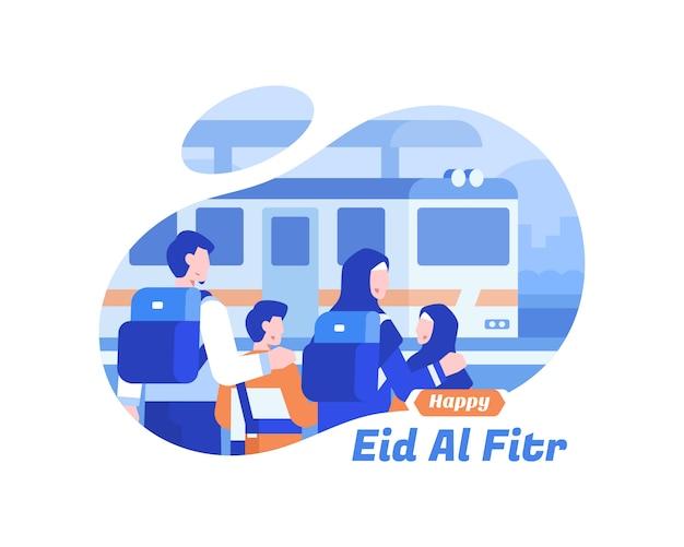 Gelukkige eid al fitr-achtergrond met moslimfamilie die de illustratie van het treinvervoer gebruiken Premium Vector