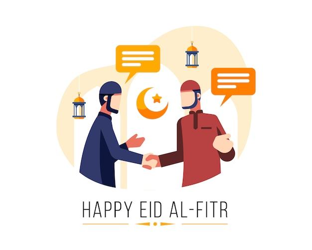 Gelukkige eid al fitr-achtergrond met twee moslimmannen begroeten elkaar en schudden elkaar de hand Premium Vector