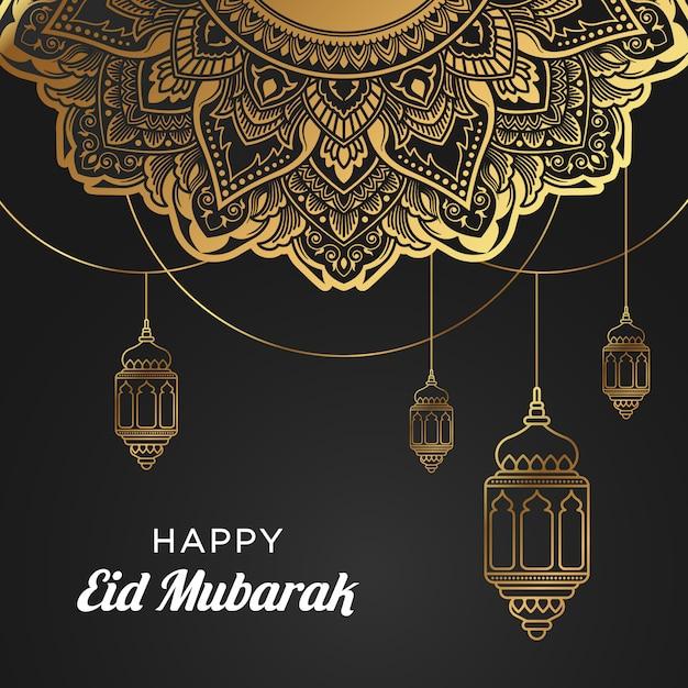 Gelukkige eid mubarak-achtergrond met lantaarn & mandala-ornament Premium Vector