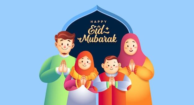 Gelukkige eid mubarak en gelukkige moslimfamilie. Premium Vector
