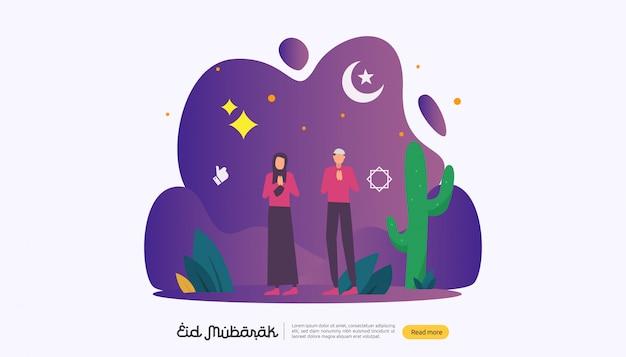 Gelukkige eid mubarak met mensenkarakter voor web-landende pagina Premium Vector