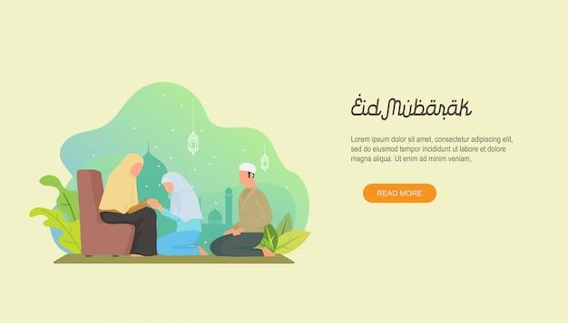 Gelukkige eid mubarak met mensenkarakter. Premium Vector