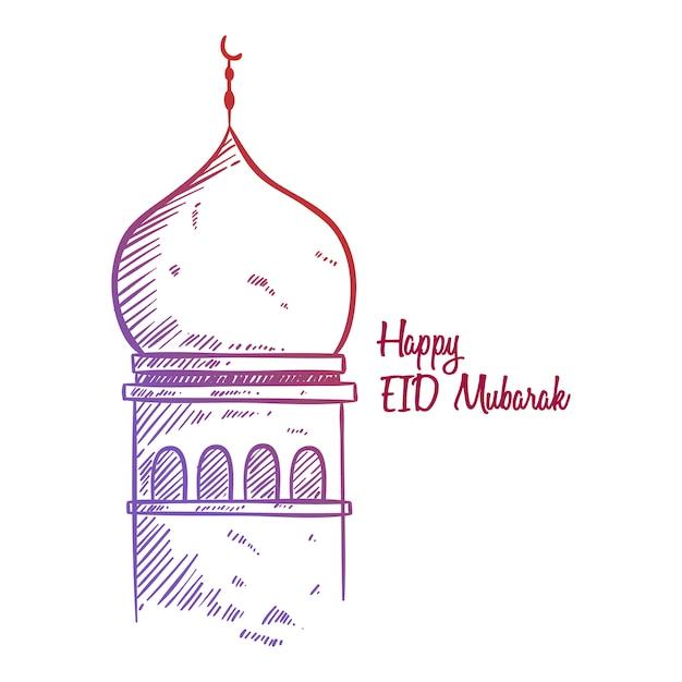 Gelukkige eid mubarak-schetsgroet met moskeeillustratie Premium Vector