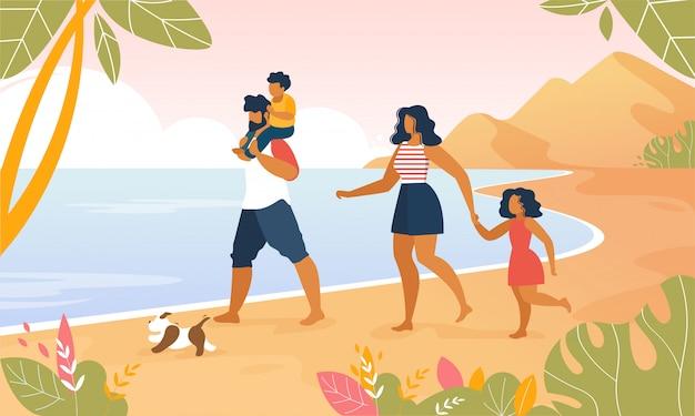 Gelukkige familie buiten wandelen langs ocean beach Premium Vector
