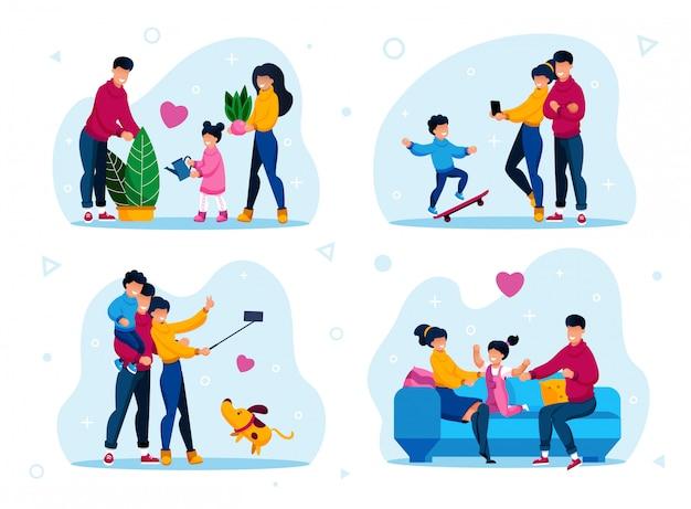 Gelukkige familie dagelijkse routines platte set Premium Vector