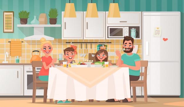 Gelukkige familie die in de keuken eet. vader, moeder, zoon en dochter ontbijten thuis aan tafel Premium Vector