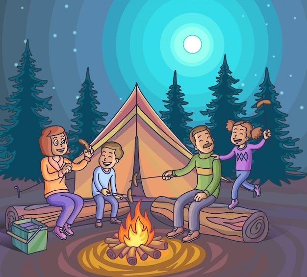 Gelukkige familie die met kampvuur bij nacht kampeert. Premium Vector