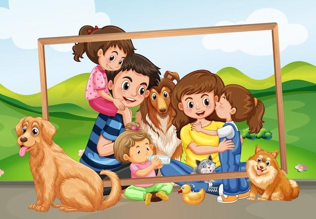 Gelukkige familie foto in de natuur Premium Vector