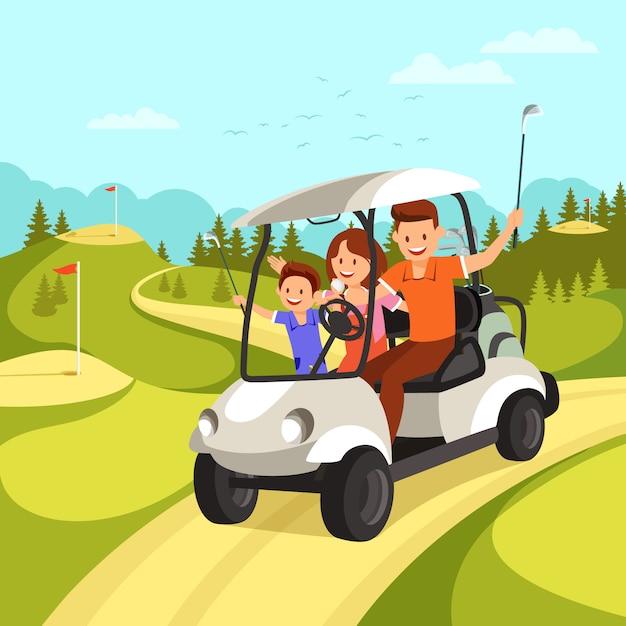 Gelukkige familie gaat door golf car op golfbaan. Premium Vector