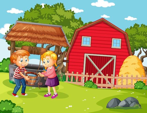 Gelukkige familie in boerderijscène in cartoon-stijl Gratis Vector