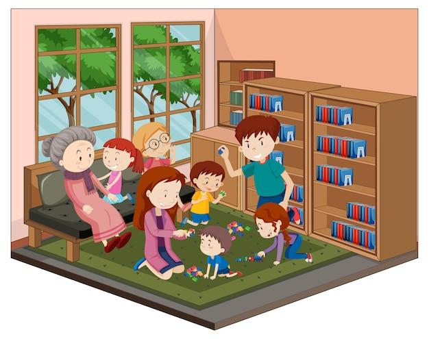 Gelukkige familie in de woonkamer met meubels Gratis Vector