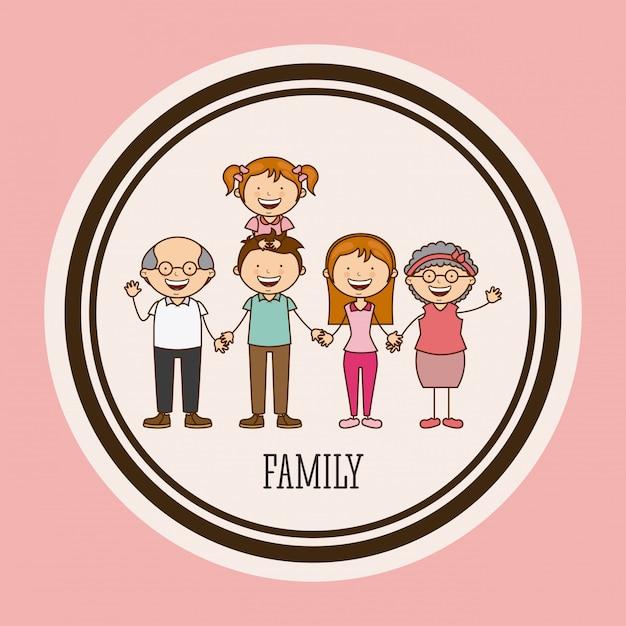 Gelukkige familie in een cirkelframe Gratis Vector