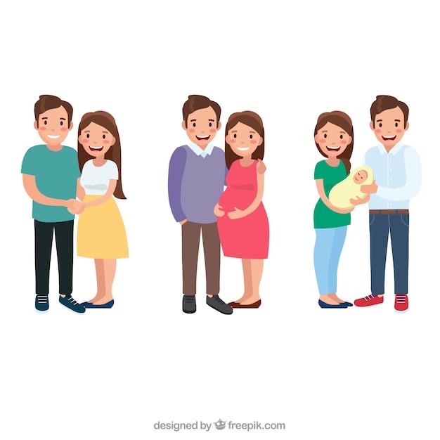 Gelukkige familie in verschillende levensfasen met platte ontwerp Premium Vector