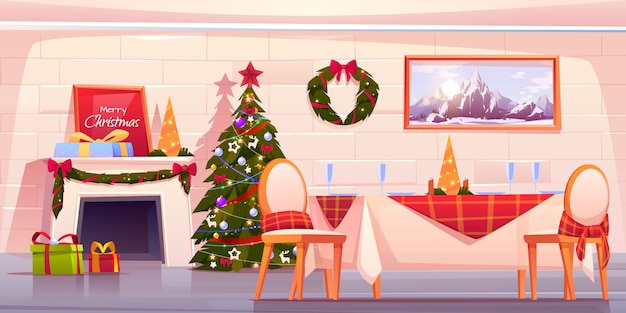 Gelukkige familie kerstdiner, vakantie vieren Gratis Vector
