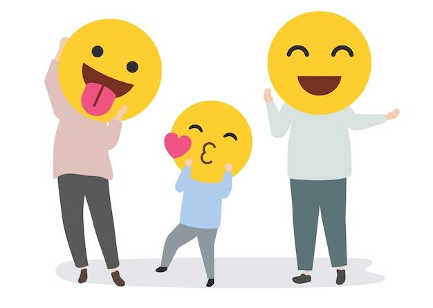 Gelukkige familie met grappige emoji's Gratis Vector