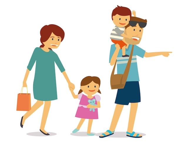 Gelukkige familie met twee kinderen op reis Premium Vector