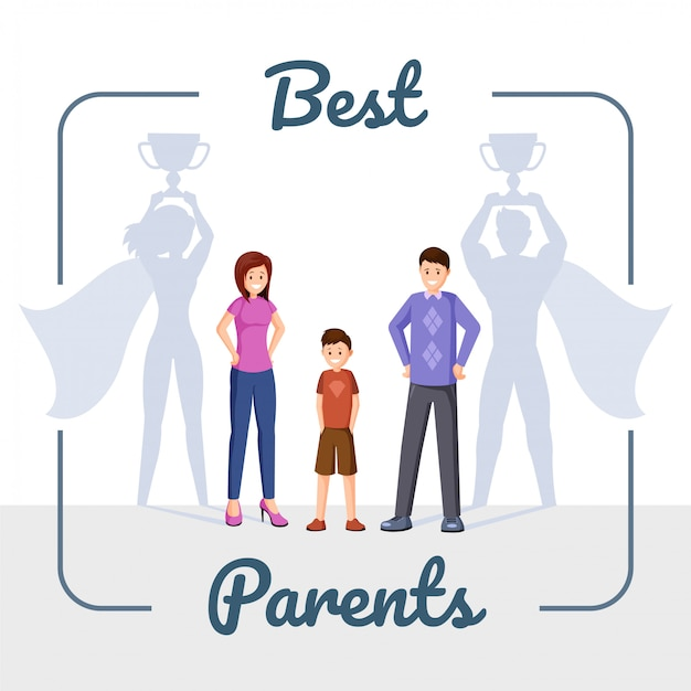 Gelukkige familie, moeder en vader met superheld schaduw Premium Vector