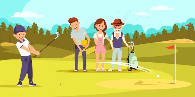 Gelukkige familie op golfveld ontspannen bij golfclub. Premium Vector