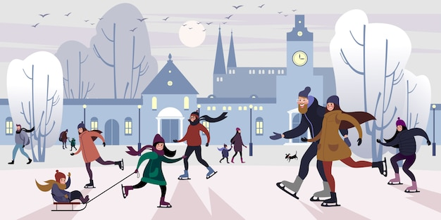 Gelukkige familie op piste buitenshuis in de winter downtown square. platte vectorillustratie Premium Vector