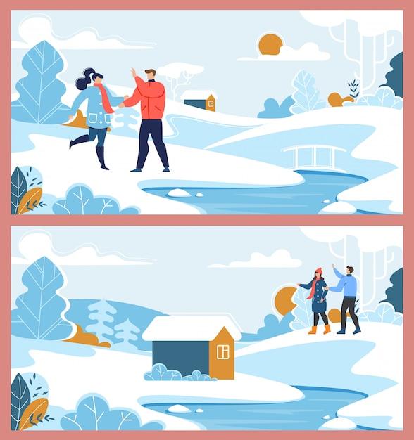 Gelukkige familie paar en winter voorstad rest set Premium Vector