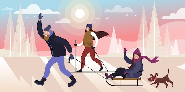 Gelukkige familie skiën en rodelen in een winter stadspark met een hond. platte vectorillustratie Premium Vector