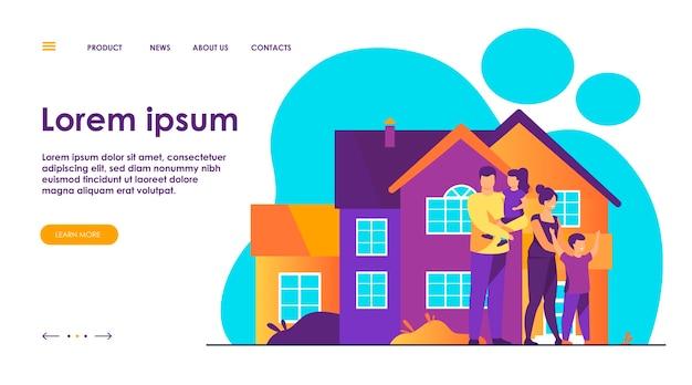 Gelukkige familie staan samen voor huis platte vectorillustratie. cartoon mensen poseren voor foto buiten. geluk en liefde concept. Gratis Vector
