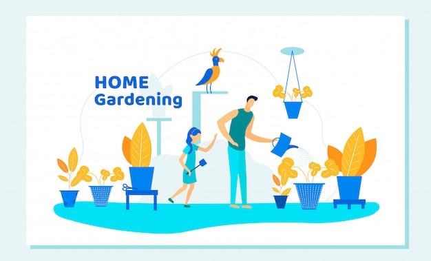 Gelukkige familie vader en dochter tuinieren thuis Premium Vector