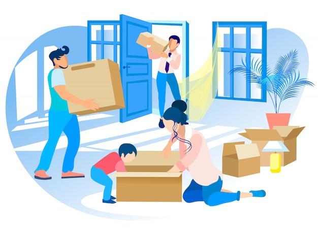 Gelukkige familie verhuizen naar een nieuw huis. onroerend goed. Premium Vector