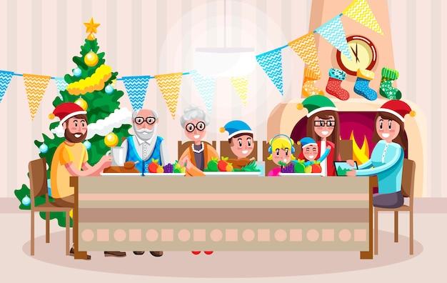Gelukkige familie vieren kerstmis Premium Vector