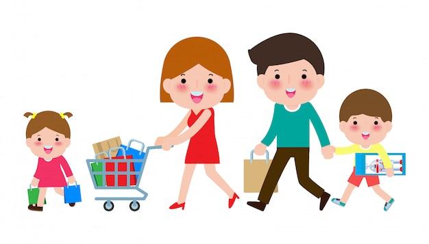 Gelukkige familie winkelen, ouders en kinderen met aankopen op kar, grote verkoop. aankoop van goederen en geschenken. boodschappen doen . illustratie Premium Vector