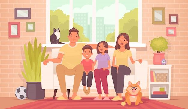 Gelukkige familie zit op de bank. moeder, vader, dochter, zoon en huisdieren thuis, tegen de achtergrond van de kamer Premium Vector