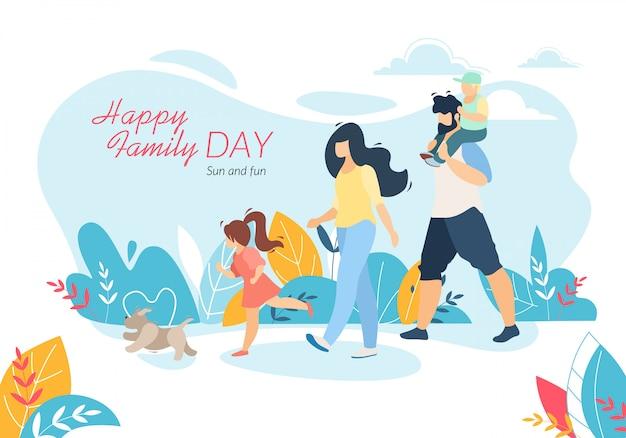 Gelukkige familiedag horizontale banner, moeder, vader, dochter en zoon wandelen met huisdier Premium Vector