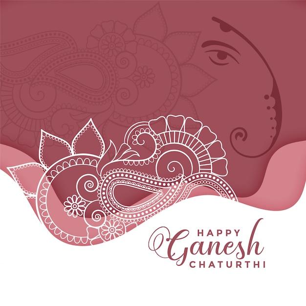 Gelukkige ganesh chaturthi in eithnic decoratieve stijl Gratis Vector