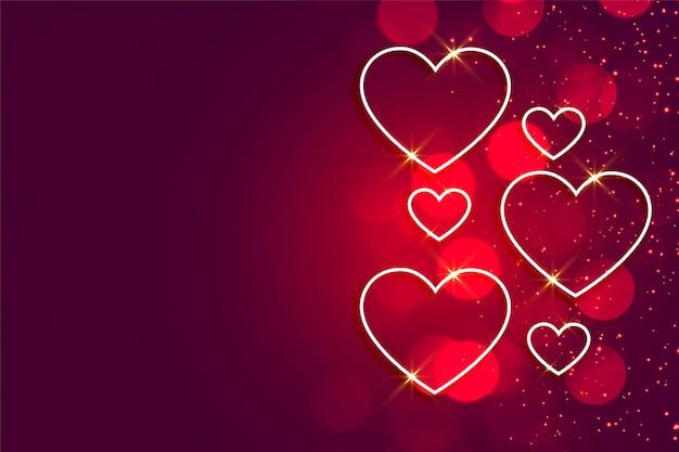 Gelukkige glanzende de hartenachtergrond van de valentijnskaartendag met tekstruimte Gratis Vector