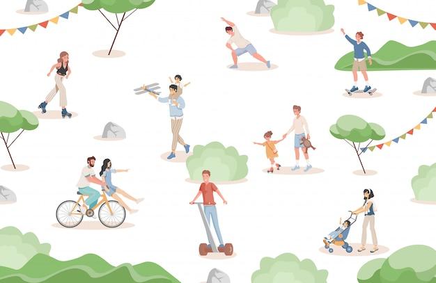 Gelukkige glimlachende mensen die in platte vectorillustratie stadspark lopen. mannen, vrouwen en kinderen brengen samen tijd door. Premium Vector