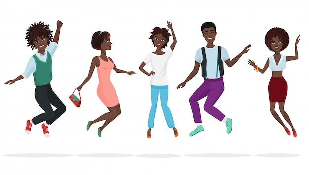 Gelukkige groep het afrikaanse amerikaanse groepswerkvrienden springen. Premium Vector