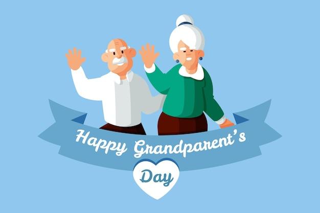 Gelukkige grootouders dag met ouder echtpaar Gratis Vector