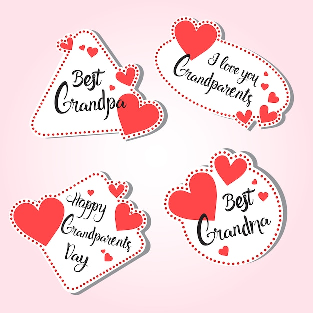 Gelukkige grootouders dag wenskaart set van stickers kleurrijke over roze achtergrond Premium Vector
