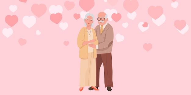Gelukkige grootouders staan en knuffelen elkaar vector Premium Vector