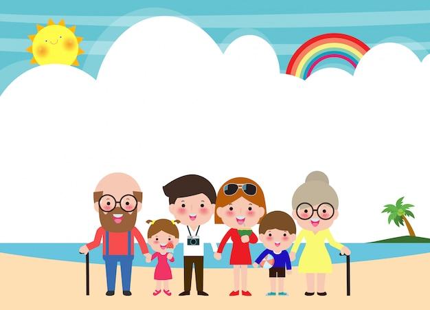 Gelukkige grote familie op het strand. familie op zomervakantie naar het strand gaan en de zee hebben. ouders en kinderen stripfiguren geïsoleerde illustratie op de zomer. Premium Vector