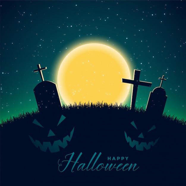 Gelukkige halloween-achtergrond met begraafplaats Gratis Vector