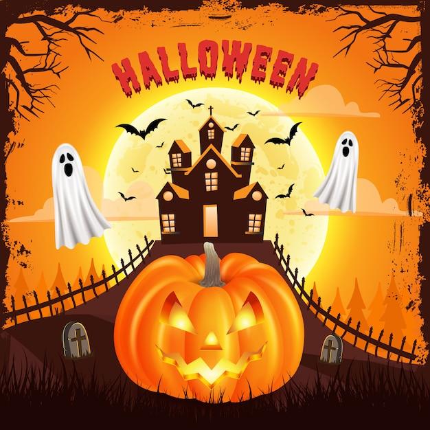 Gelukkige halloween-achtergrond met enge pompoen met griezelig kasteel, vliegend spook en volle maan. illustratie voor happy halloween-kaart, flyer, banner en poster Premium Vector