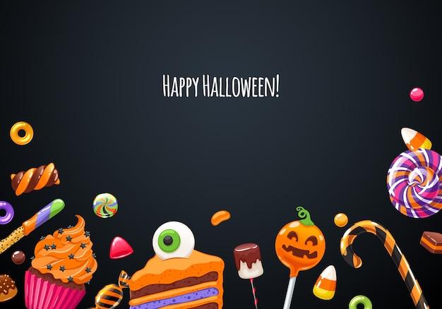 Gelukkige halloween-achtergrond met kleurrijke snoepjes Premium Vector