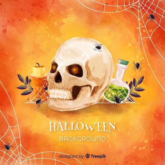 Gelukkige halloween-achtergrond met schedel en vergift Gratis Vector