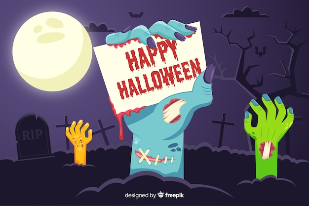 Gelukkige halloween-achtergrond met zombiehanden Gratis Vector