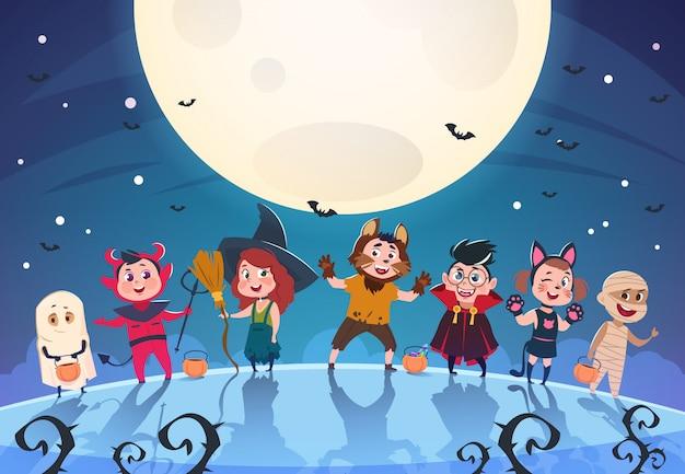 Gelukkige halloween-achtergrond. monsters en kinderen in kostuums. halloween-feestaffiche of uitnodigingssjabloon Premium Vector