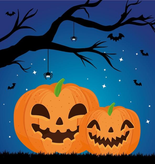 Gelukkige halloween-banner met het vliegen van pompoenen, droge boom en vleermuizen Premium Vector